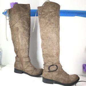 2 Lips Too Jingo Thigh High Boots Taupe Size 6